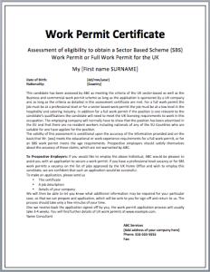 Work Permit Certificate Template