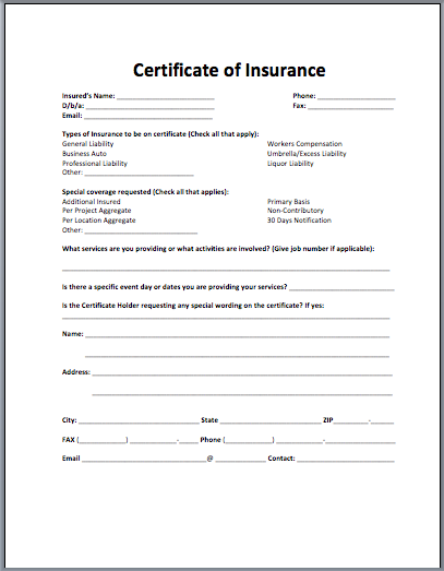 Insurance Certificate Template  Blank Certificate Templates For Word