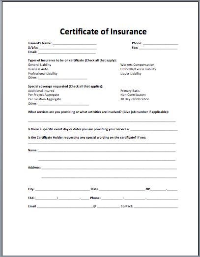 Insurance Certificate Template