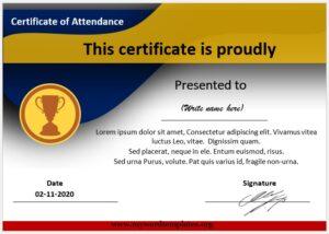 Perfect Attendance Certificate Template 01