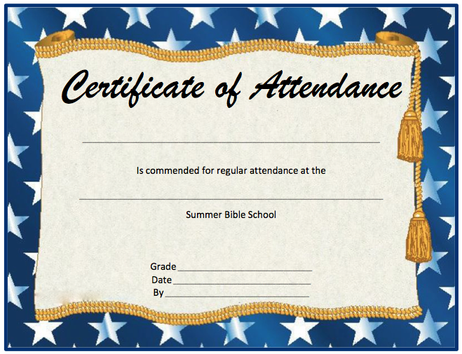 Perfect Attendance Award Template perfect attendance certificate ...