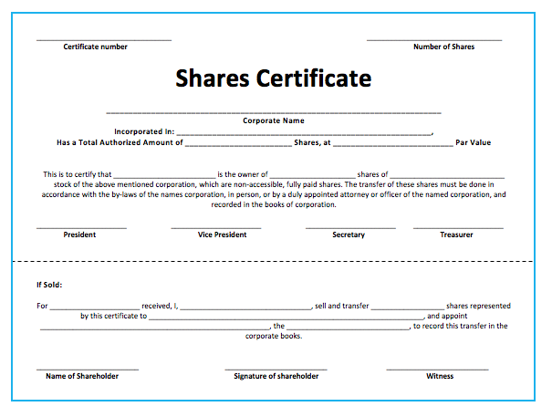 Stock Shares Certificate Template – Shareholder Certificate Template