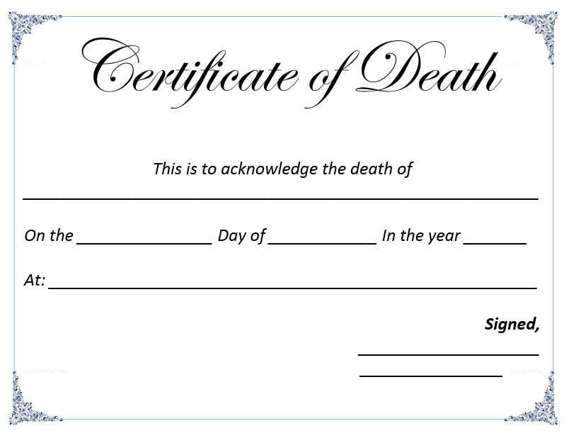 Death certificate template microsoft word templates for Ms office certificate template