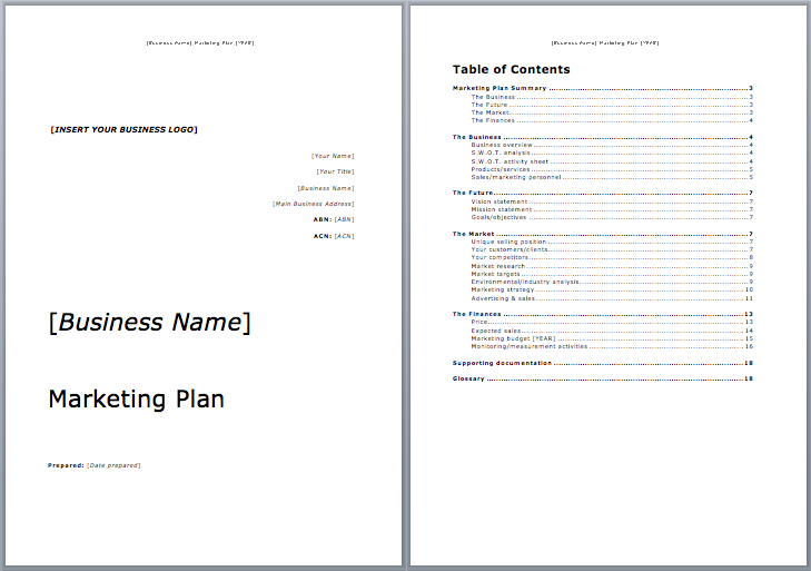 free marketing plan template word
