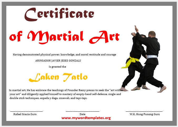 Martial Art Certificate Template 04