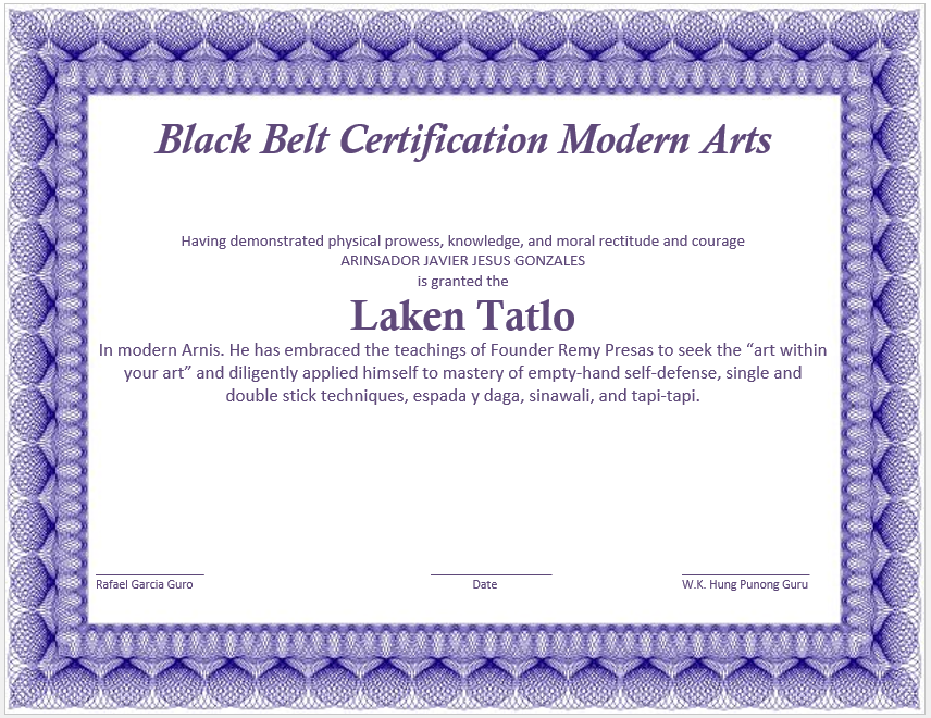 Martial art certificate template microsoft word templates for Black belt certificate template