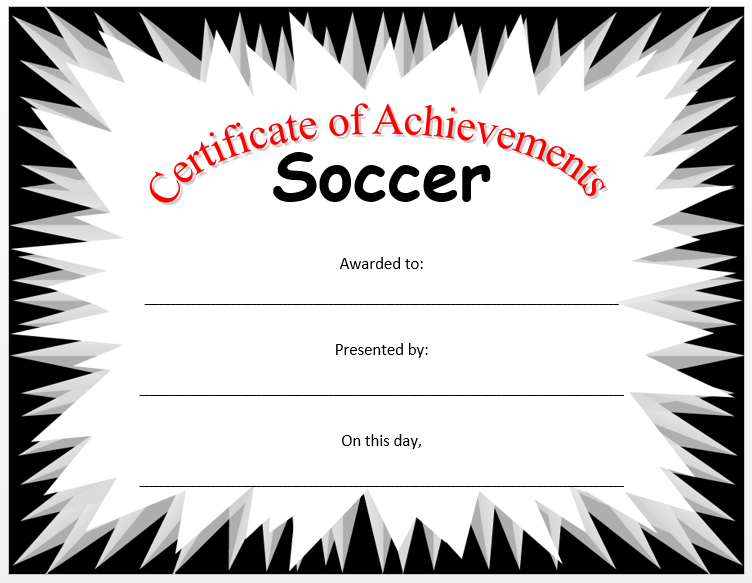 Related Word Templates. Soccer Certificate Template