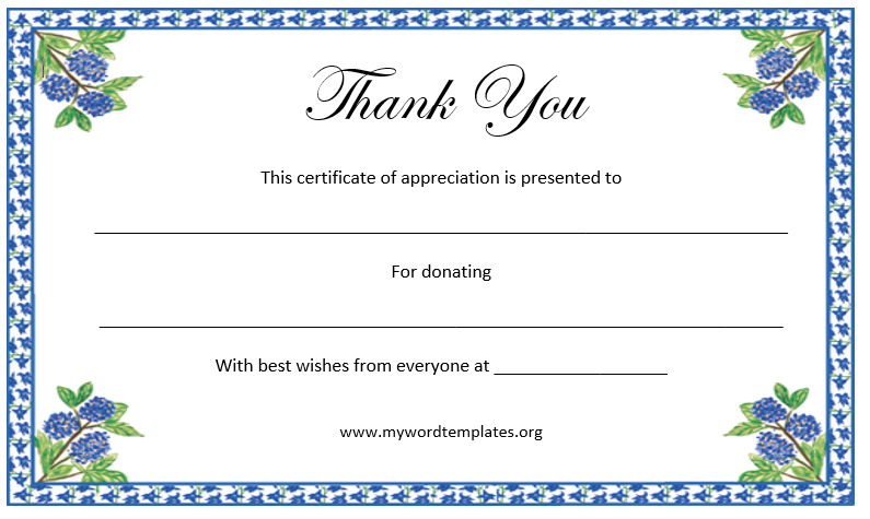 Printable Thank You Certificate – Microsoft Word Template Certificate