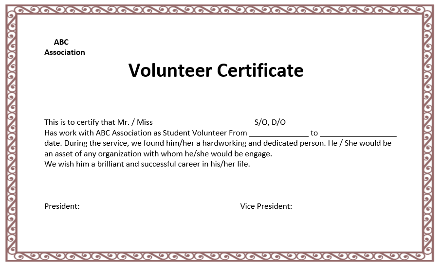 Volunteer Certificate Template | Microsoft Word Templates