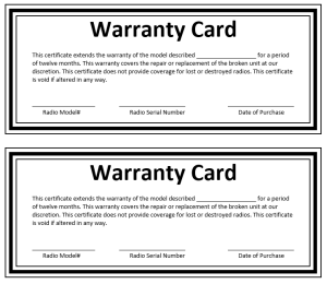 Warranty Certificate Template
