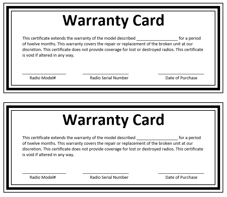 Sample warranty gallery for Workmanship guarantee template