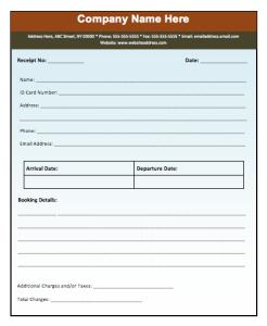 Advance Booking Receipt Template