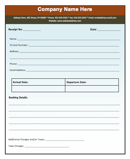 Advance Booking Receipt Template  Check Receipt Template Word