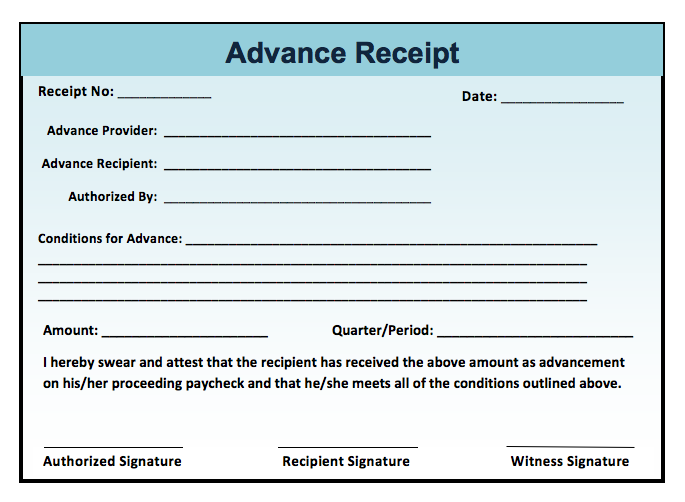 Advance Receipt Template – Bill Payment Receipt Format