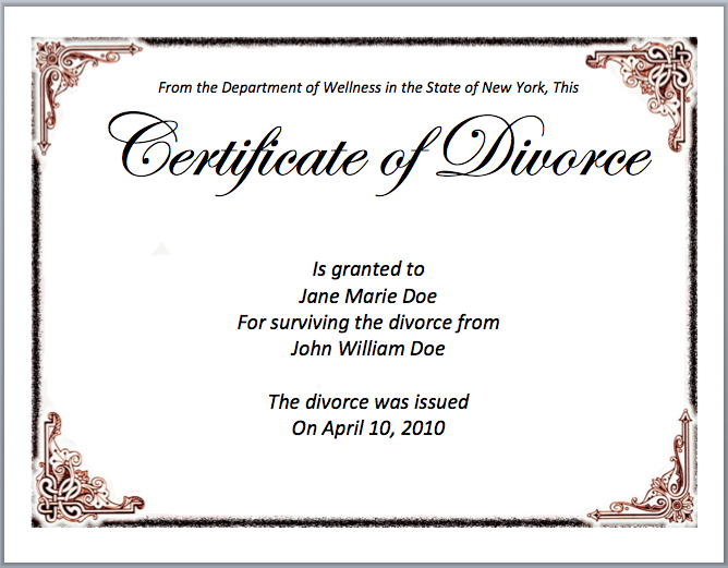 Sample Divorce Certificate – Microsoft Word Template Certificate