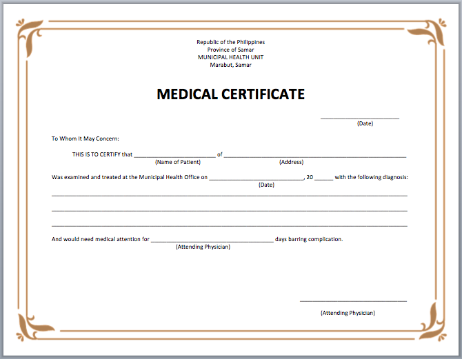 Medical Certificate Template Microsoft Word Templates