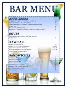 Bar Menu Template