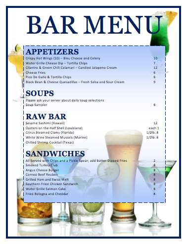 Bar Menu Template  Free Menu Templates Microsoft Word