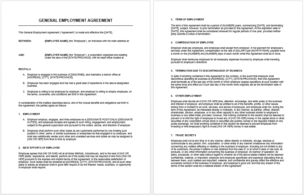 general agreement template