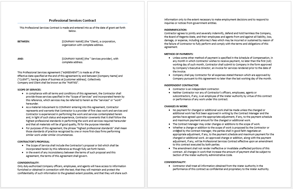 Professional Services Agreement Template - Microsoft Word Templates