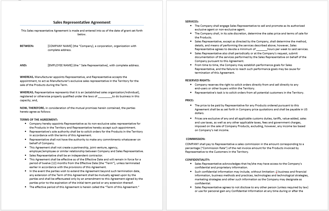 Sales Representative Agreement Template – Microsoft Word Contract Template Free