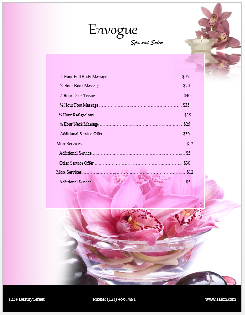 massage price list template - spa menu card