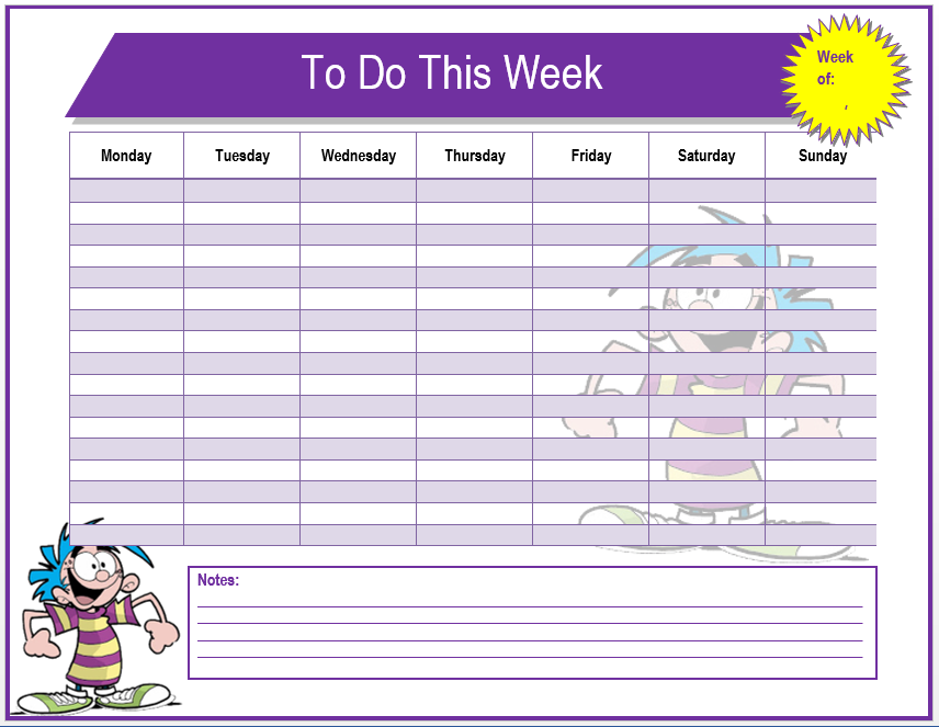 Weekly To Do List Template Microsoft Word Templates