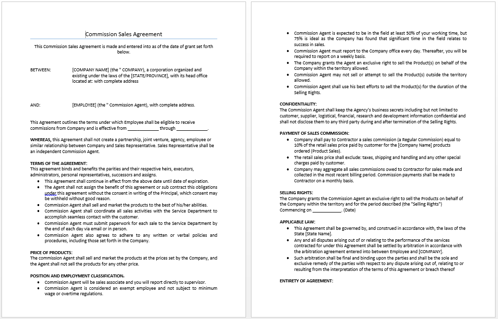 Commission S Agreement Template Microsoft Word