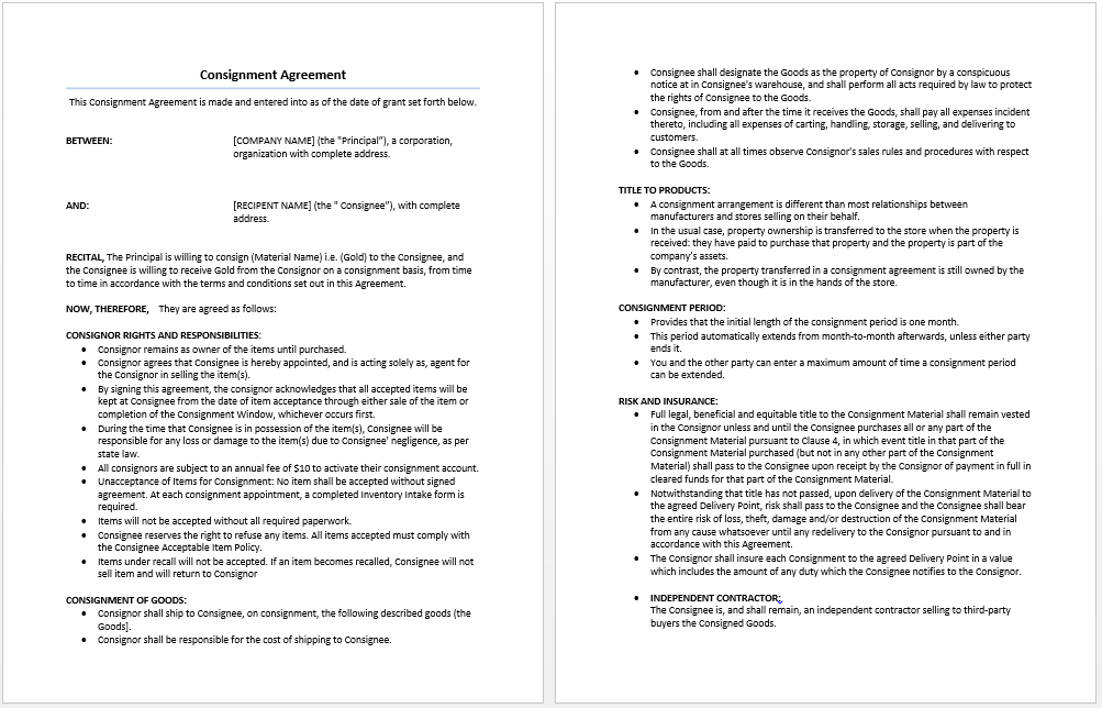 Consignment Agreement Template Microsoft Word Templates