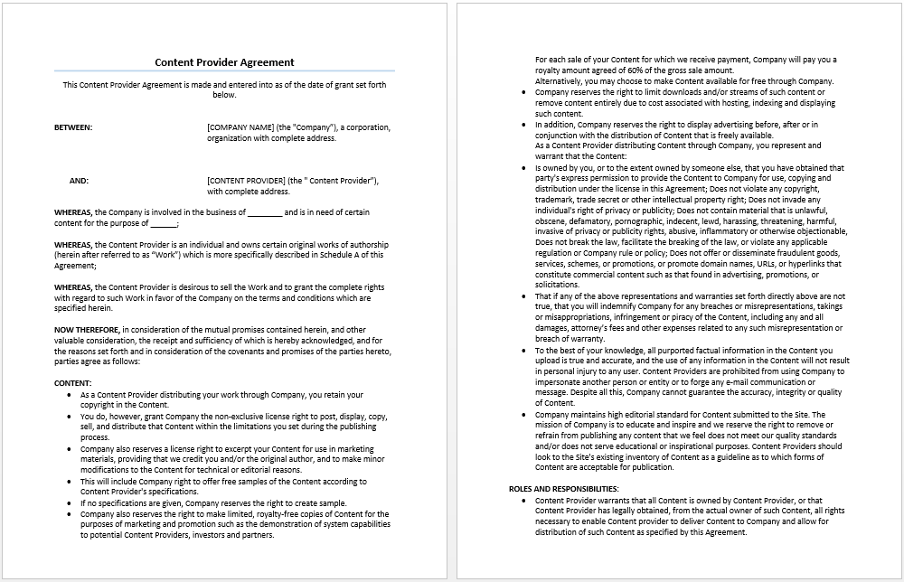 Content Provider Agreement Template