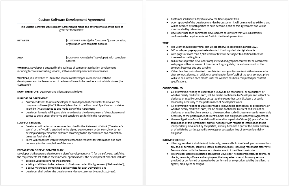Custom Software Development Agreement Template Microsoft Word