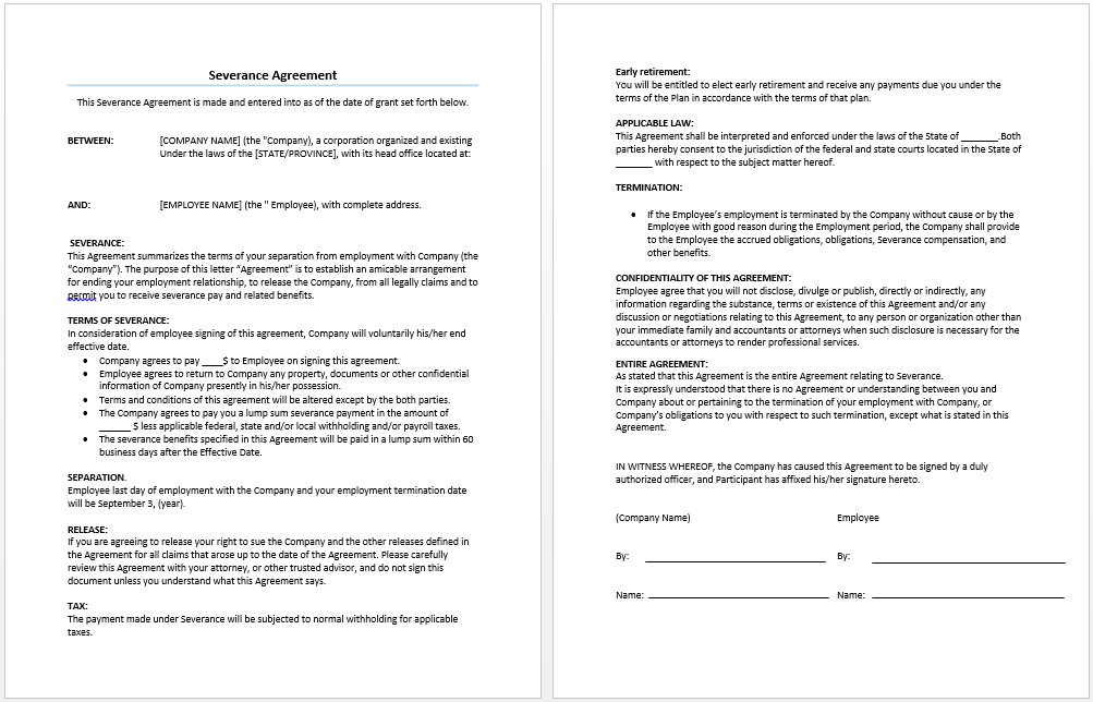 severance agreement template microsoft word templates