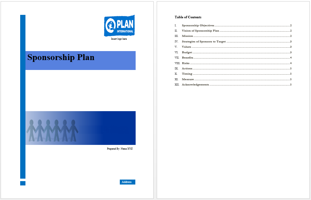 Sponsorship Plan Template