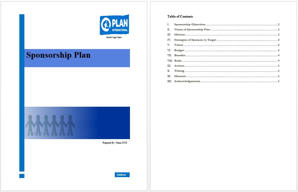 Sponsorship Plan Template