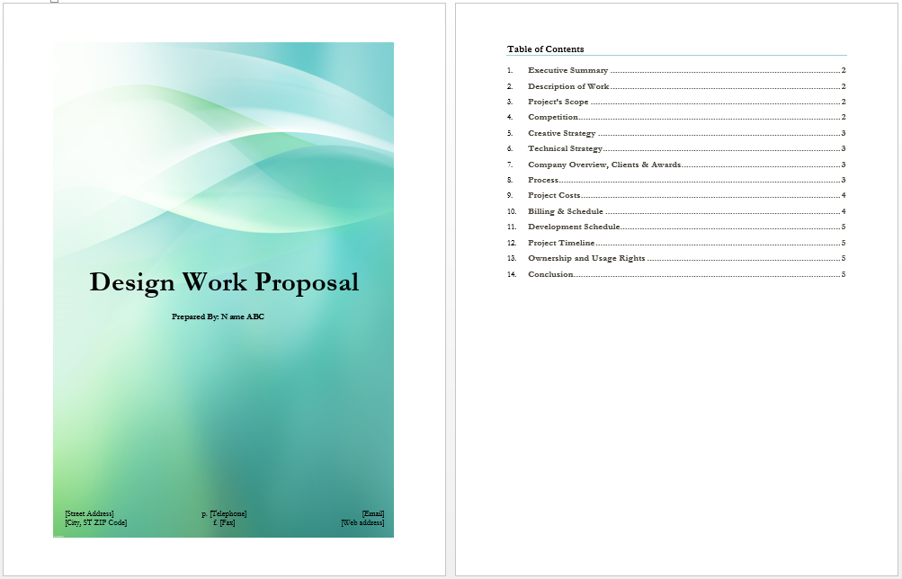 Design Work Proposal Template  Proposal Cover Page Design