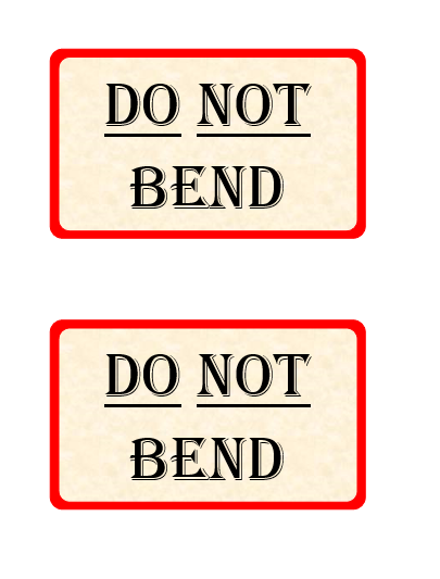 Do Not Bend Label Template