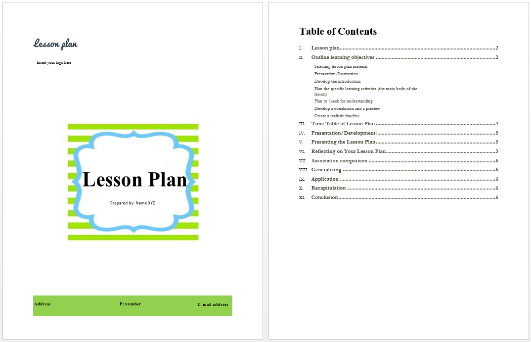 Lesson Plan Template – Lesson Plan Sample in Word