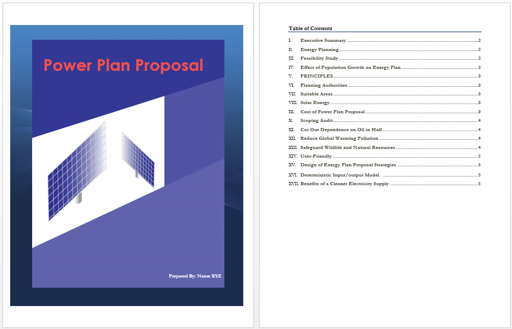 Power Plan Proposal Template Microsoft Word Templates