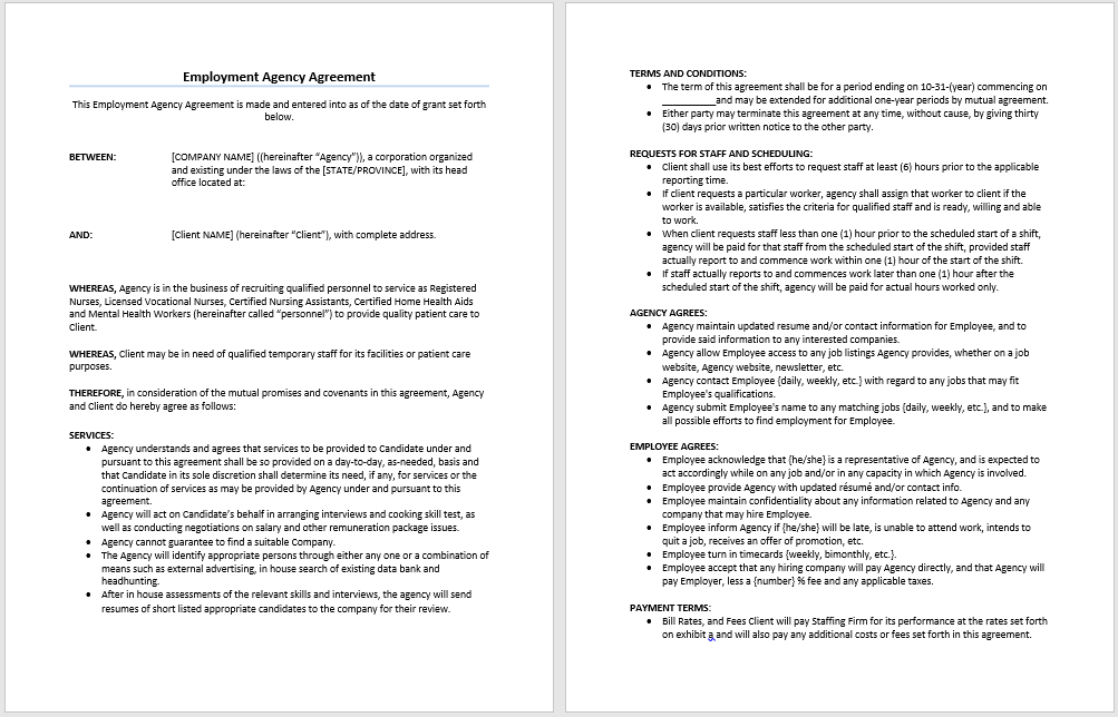 free temporary employment contract template - employment agency agreement template microsoft word