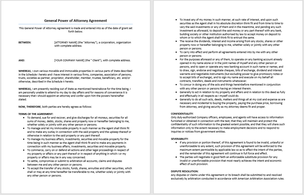 General Power Of Attorney Agreement Template Microsoft