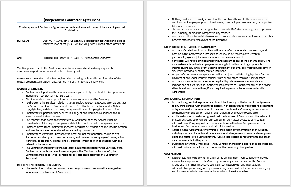 Sample Contractor Agreement | Microsoft Word Templates
