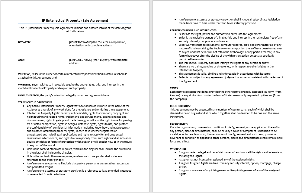 Intellectual Property Sale Agreement Template – Ms Word for Sale