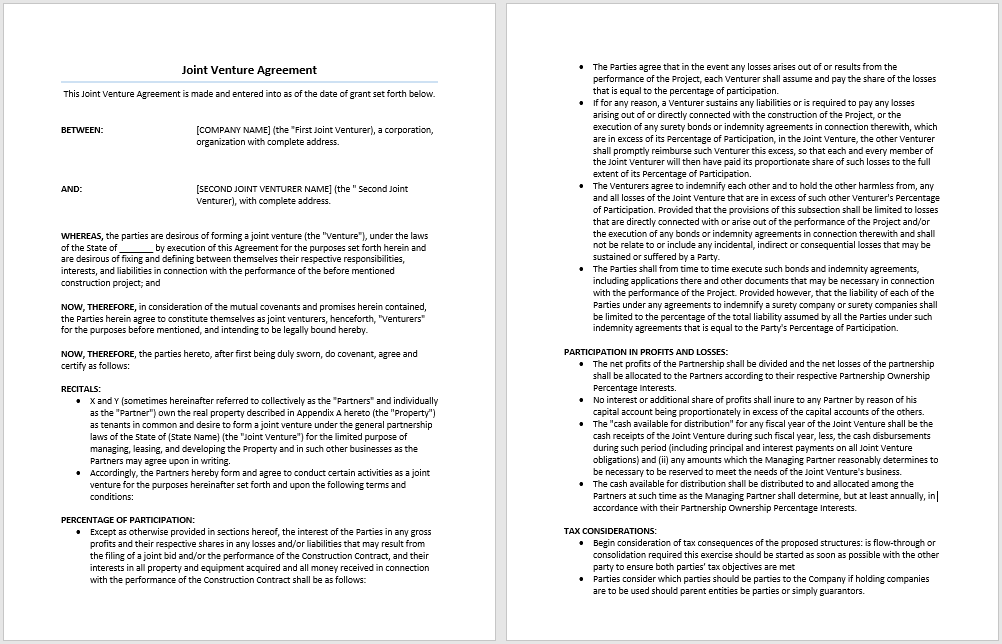 Joint Venture Agreement Template | Microsoft Word Templates