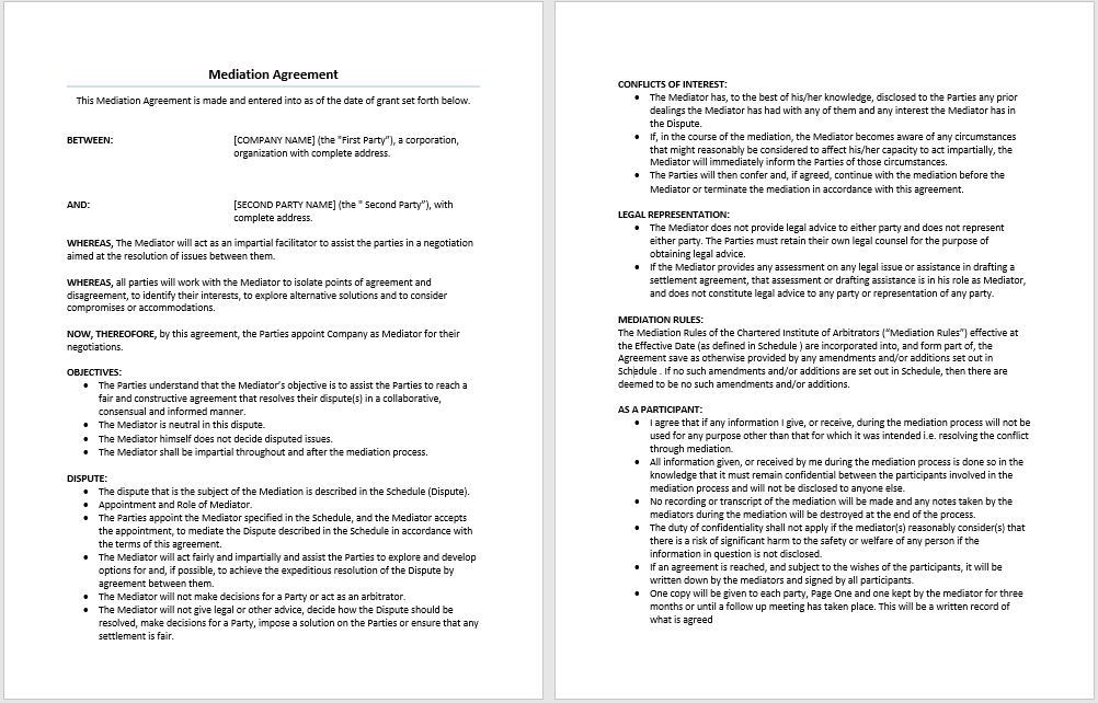 Mediation Agreement Template Microsoft Word Templates