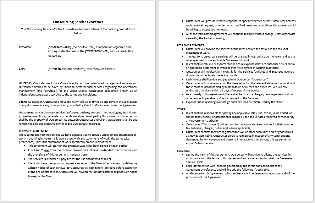 Outsourcing Services Contract Template – Terms of Agreement Contract Template