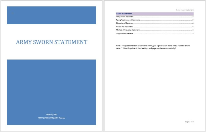 Army Sworn Statement Template
