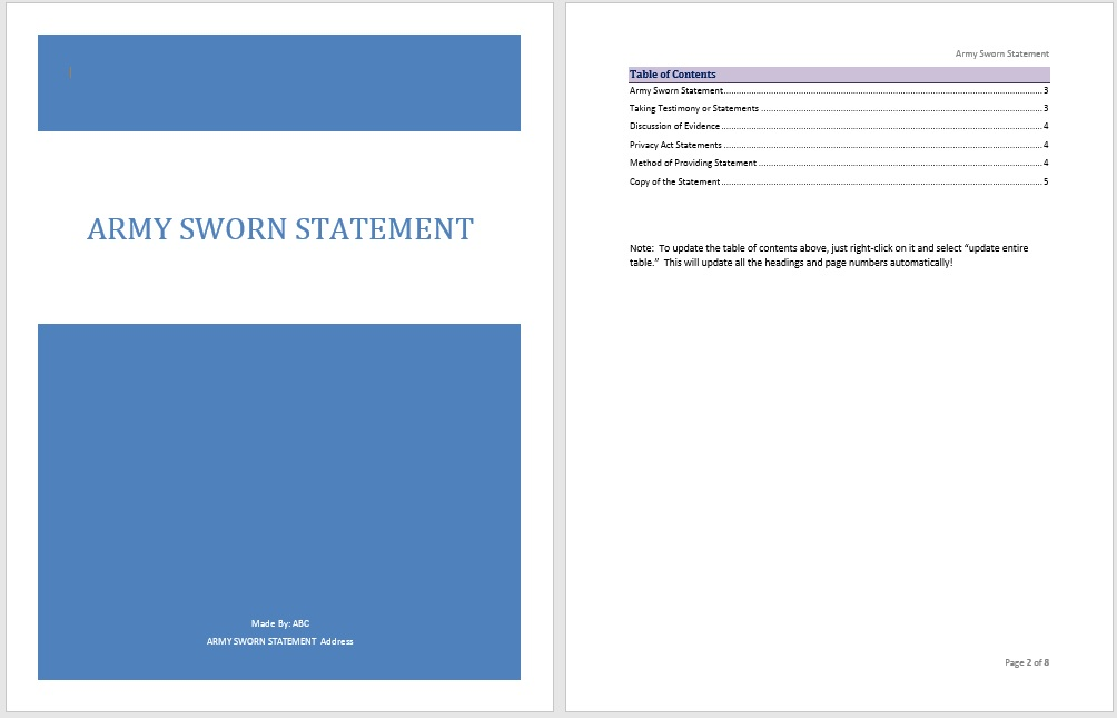 Army Sworn Statement Template  Example Of Sworn Statement