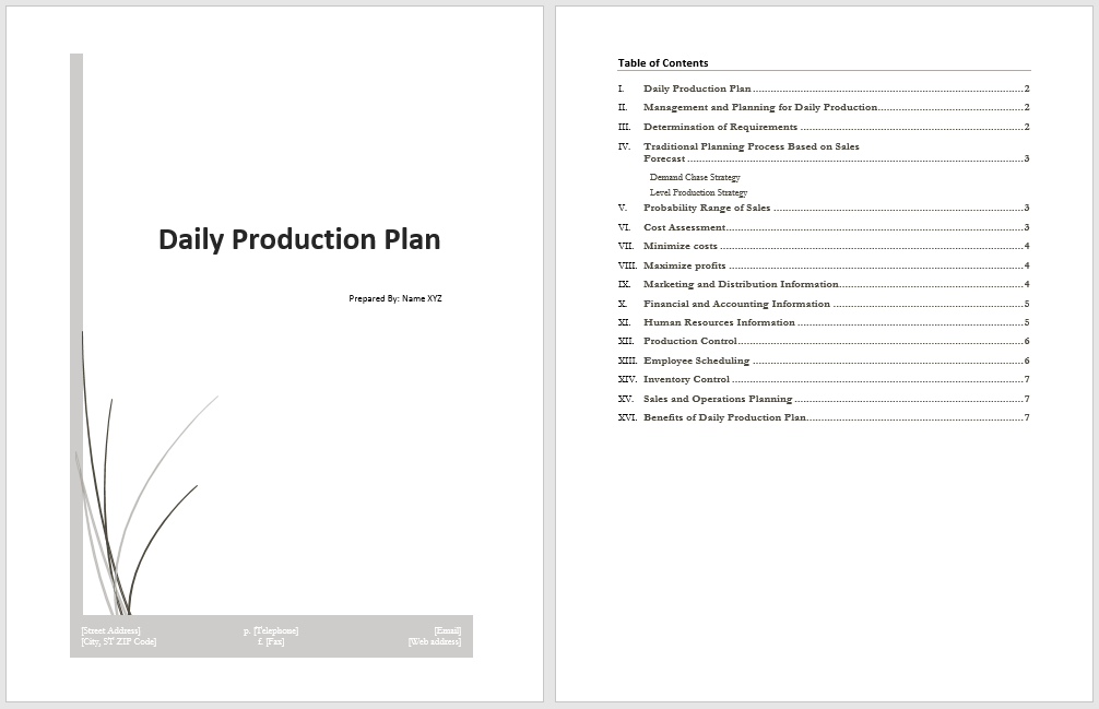 Daily Production Plan