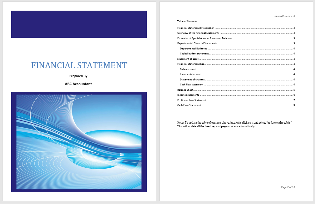 Financial Statement Template  Income Statement Template Word