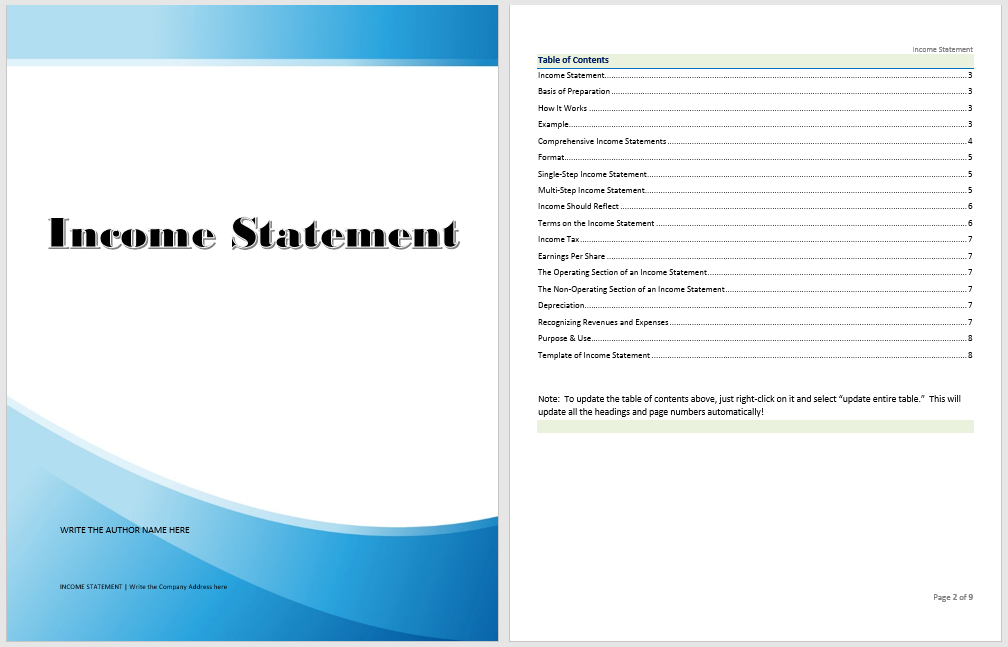 Income Statement Template  Income Statement Template Word